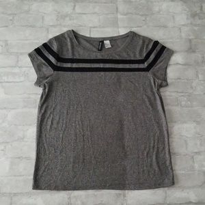 Grey top with black stripes